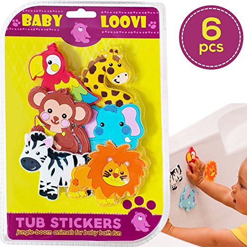 Educational Bath Toys For Toddlers - Bathtub Stickers Girls Boys Kids - Fun Bathing Time - Early Learning Toys - Safe Bright Bath Toys - Set of 6 pcs Cute - Bath Jungle Toy