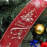 CRAZYON Gold Red Glitter Christmas Tree Decorations Wired Edge Christmas Ribbon