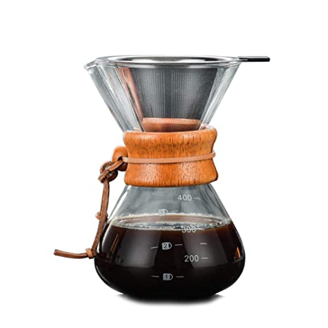 Amazon.com: ViVseliy Pour Over Glass Coffee Maker, 400ml ...