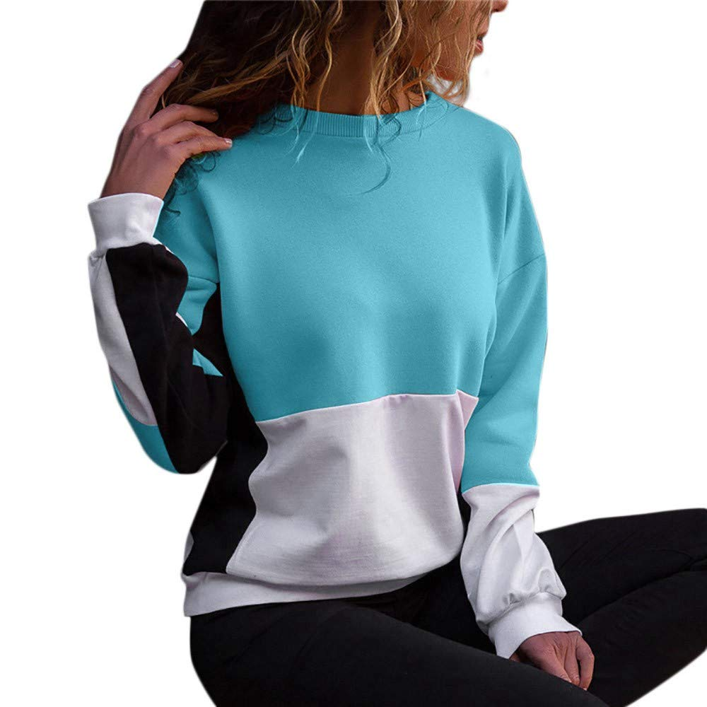 NINGSANJIN T-Shirt Femmes Sport, Patchwork Lettre Imprimé Hoodies O Col À Manches Longues Pulls Tops Sweatshirts Causal Blouse