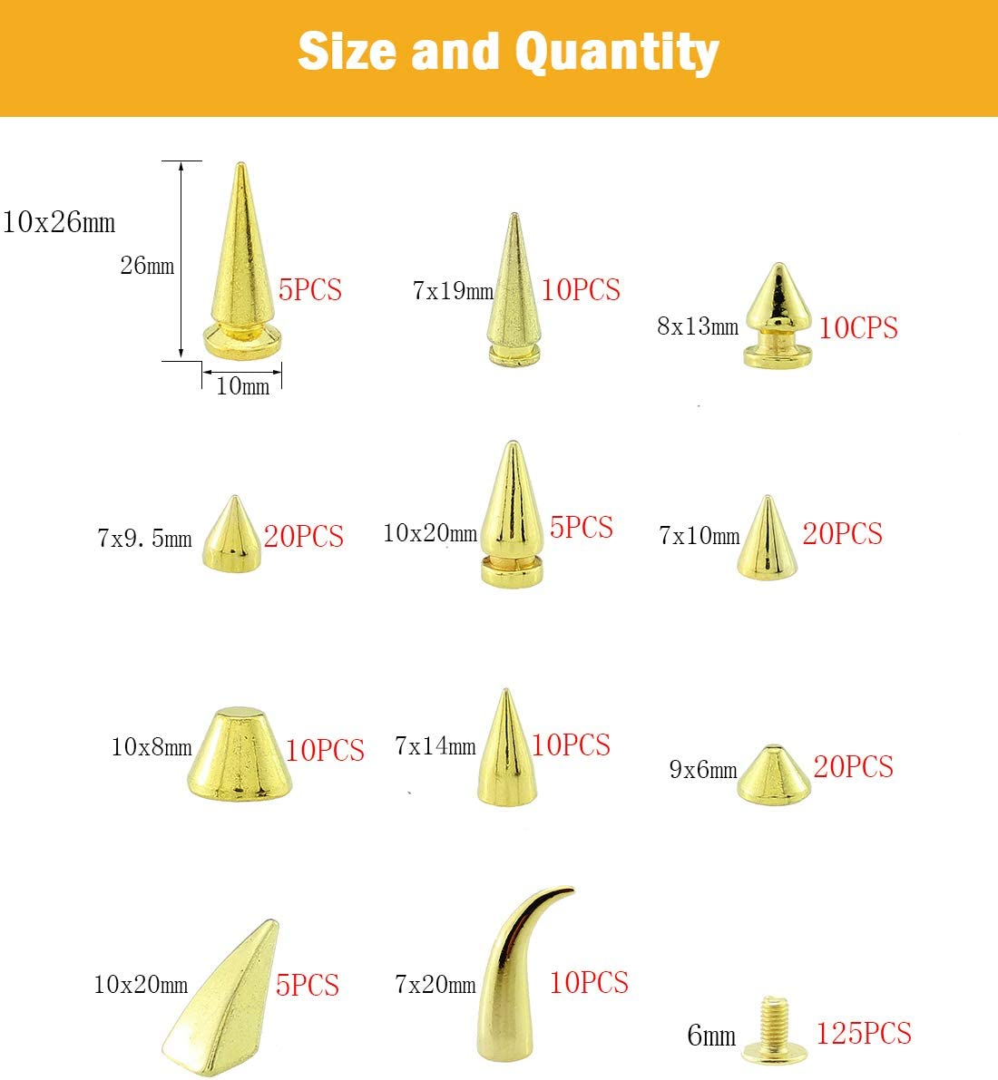 Mix Styles 140 Sets Screw Back Studs and Spikes Kit with Tools Silver Leather Craft Rivets Bullet Cone DIY Accessories