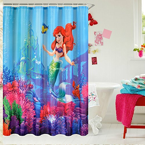 E Gift Beautiful Little Mermaid Castle Custom Shower Curtain 72 X 72