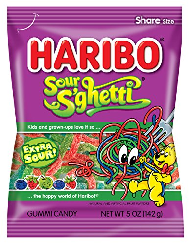 Haribo Gummi Candy, Z!NG Sour S'ghetti, 5-Ounce Bags (Pack of 12) ()