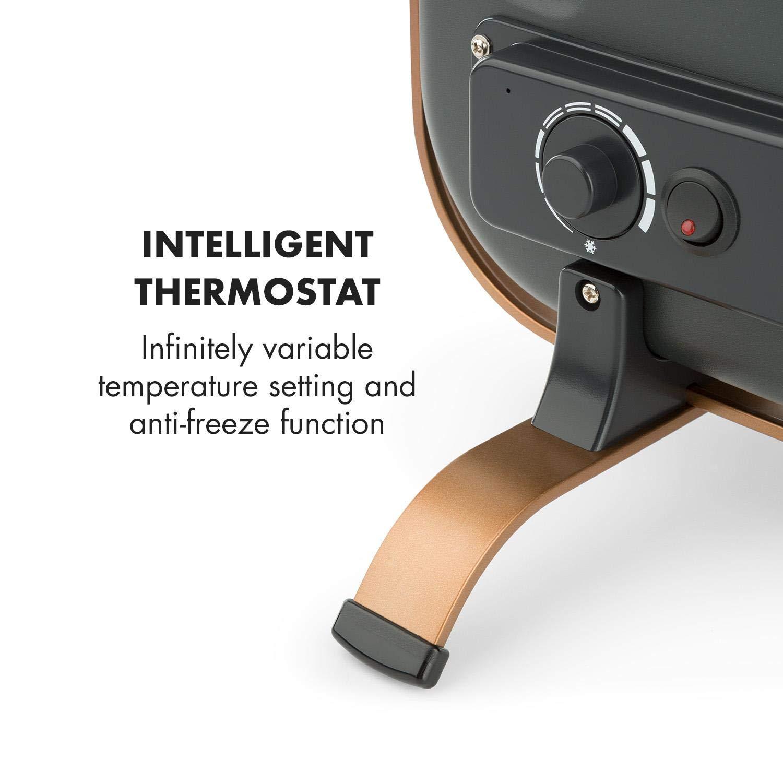 Klarstein HeatPal Marble Blackline Chauffage Infrarouge avec Thermostat /• Chauffage Mobile /• 1300W /• jusqu/à 30 m/² /• Accumulation de Chaleur /• Plateau en marbre /• Argent