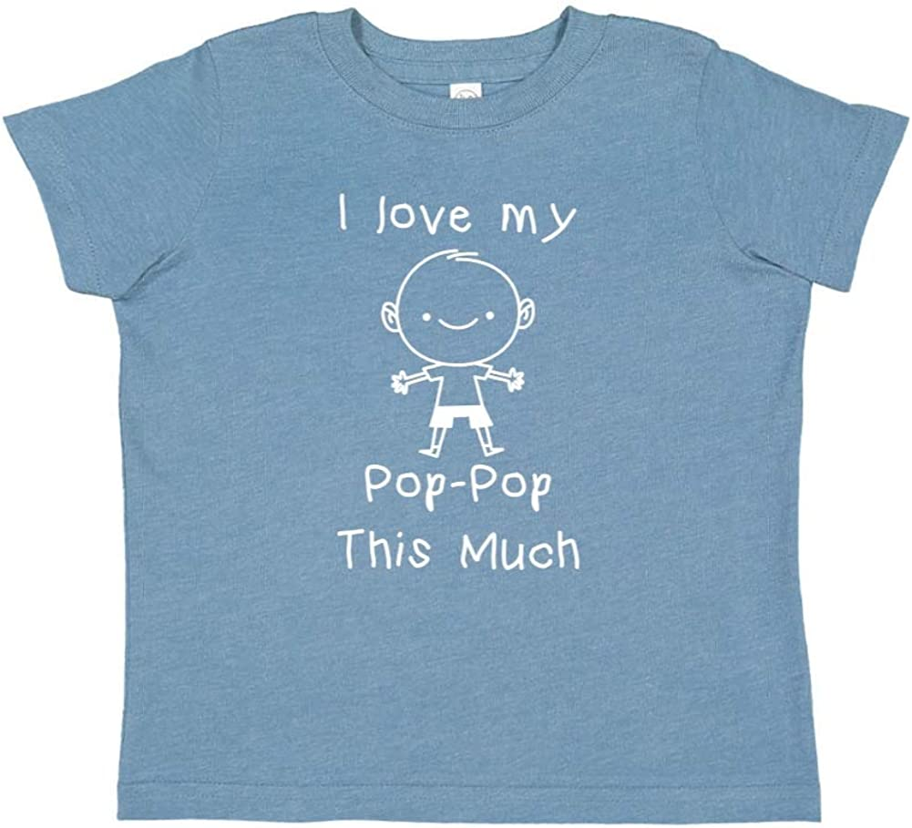 Personalized Name Toddler//Kids Short Sleeve T-Shirt I Love My Pop-Pop This Much Little Boy