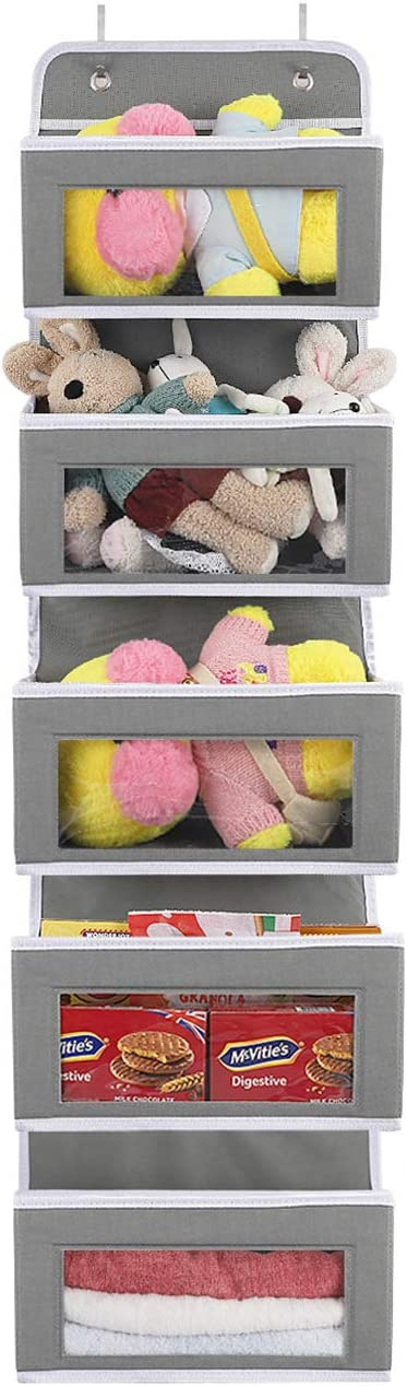 PALOMA Over the Door Storage Organizer Hanging 5 Clear Window Pocket Organizer for Pantry Kitchen Closet Nursery Storage