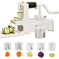 Spiralizer,Premium 5 Blade Zucchini and Vegetable Spiral Slicer,Heavy Duty Suction Base,Guaranteed! Specially made for Vege Based Diets.BONUS Cleaning Brush and Stainless Steel Blade Storage. SIMPLEJOY. Enjoy Healthy