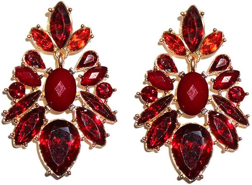 Pendientes de aleación de diamantes rojos chapados en oro largo colgante elegante moda pendientes de mujer joyería regalos
