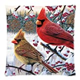 "Funny red Cardinal bird art,cute birds Twin Side Zippered Cushion Case,Pillowcase,cushion cover 18""x18"""