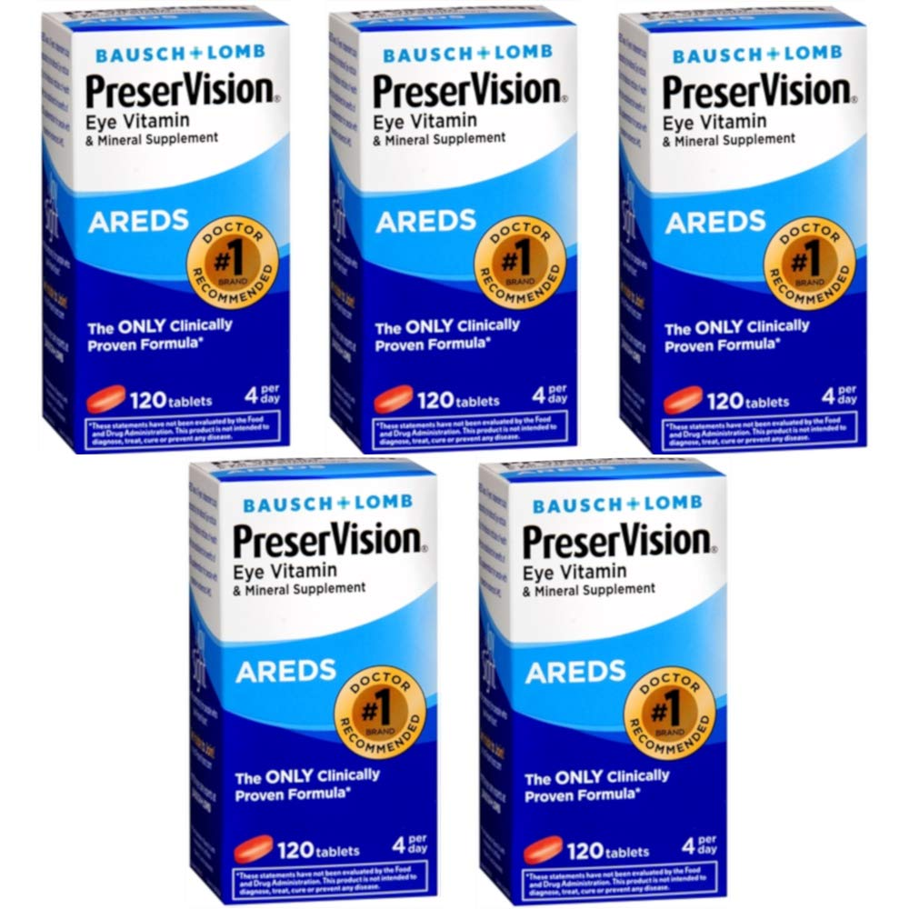 Bausch & Lomb Ocuvite PreserVision Tablets 120 Tablets (Pack of 5)