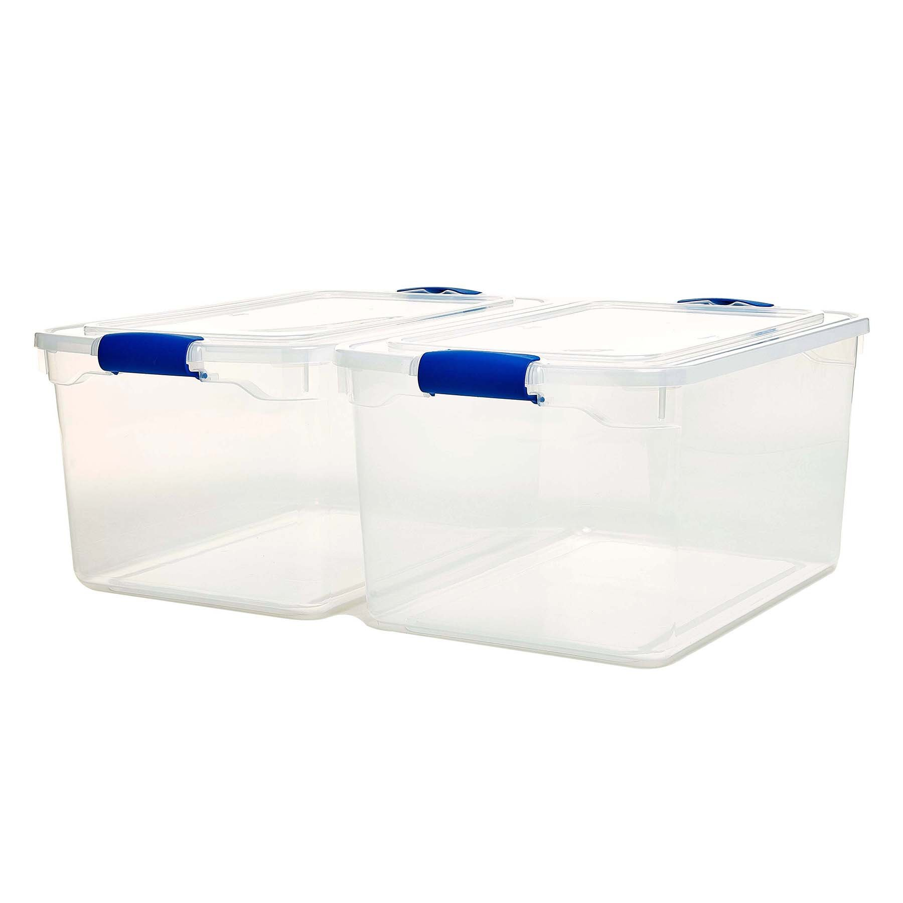Homz Plastic Storage, Modular Stackable Storage Bins with Blue Latching Handles, 66 Quart, Clear, 2-Pack by Homz (Image #3)