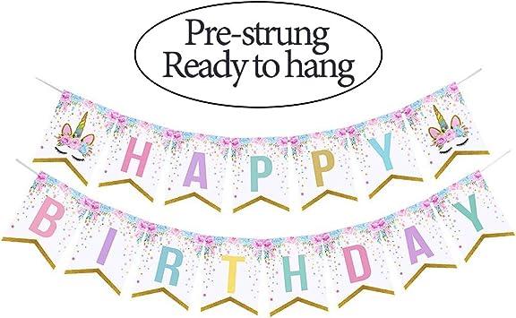 Amazon.com: Pancarta de feliz cumpleaños con diseño de flor ...