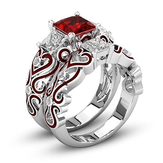 Anillo de diamante 2 en 1 para mujeres, para amantes de las ...