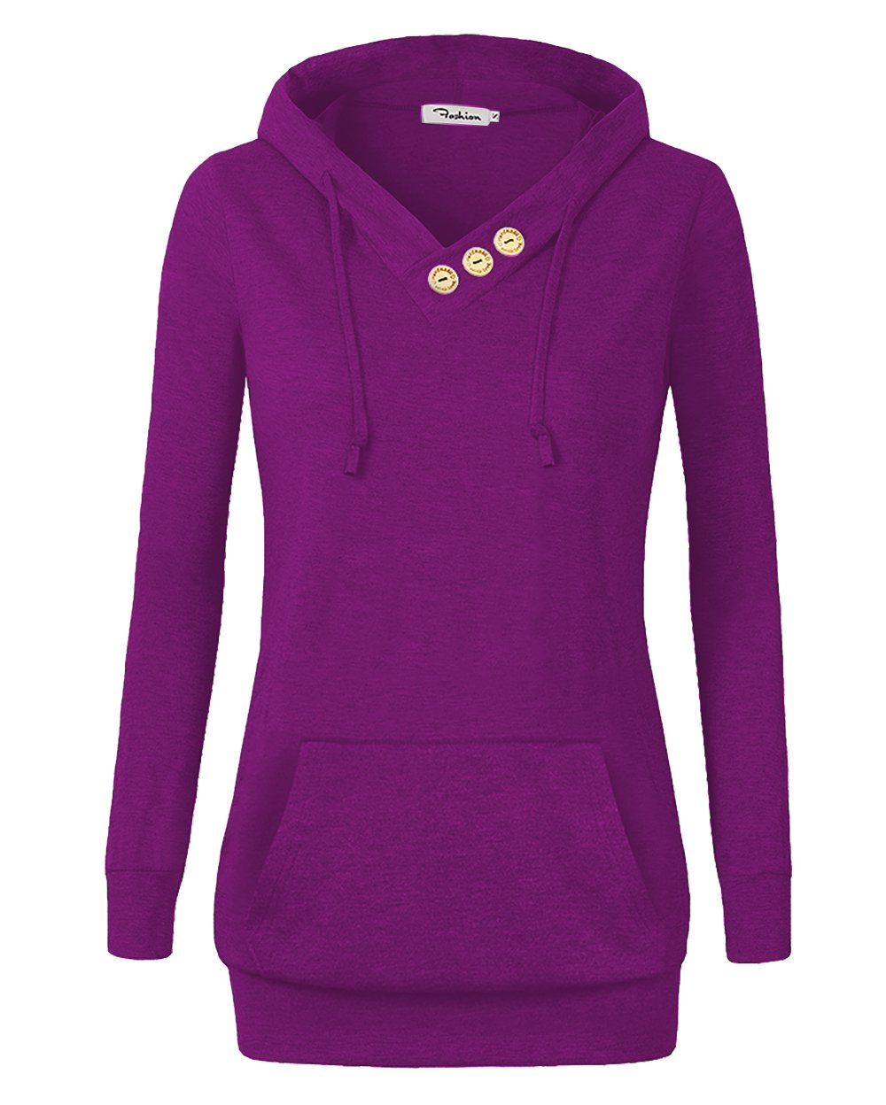 VOIANLIMO Women's Sweatshirts Long Sleeve Button V-Neck Pockets Pullover Hoodies (Purple Red, XX-Large)