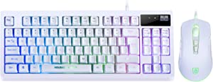 RGB Gaming Keyboard and Mouse Combo,87 Key Gaming Keyboard USB Wired RGB Backlit Gaming Keyboard Mechanical Feeling with Gaming Mouse, White Keyboard Wired Set for PC MAC Chrome PS4 Xbox Laptop