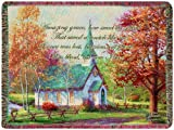 Manual Amazing Grace Tapestry Throw with Quote, Chapel in The Woods by Thomas Kinkade, 60 X 50-Inch