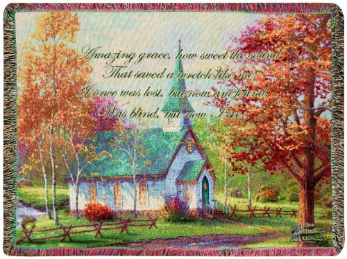 Tapestry  with Quote, Chapel in The Woods by Thomas Kinkade