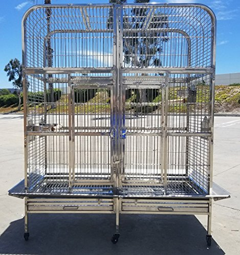 Stainless Steel Bird Parrot Macaw Breeder Double Cage, for Indoor or Outdoor (Lock Double Cage Breeder)