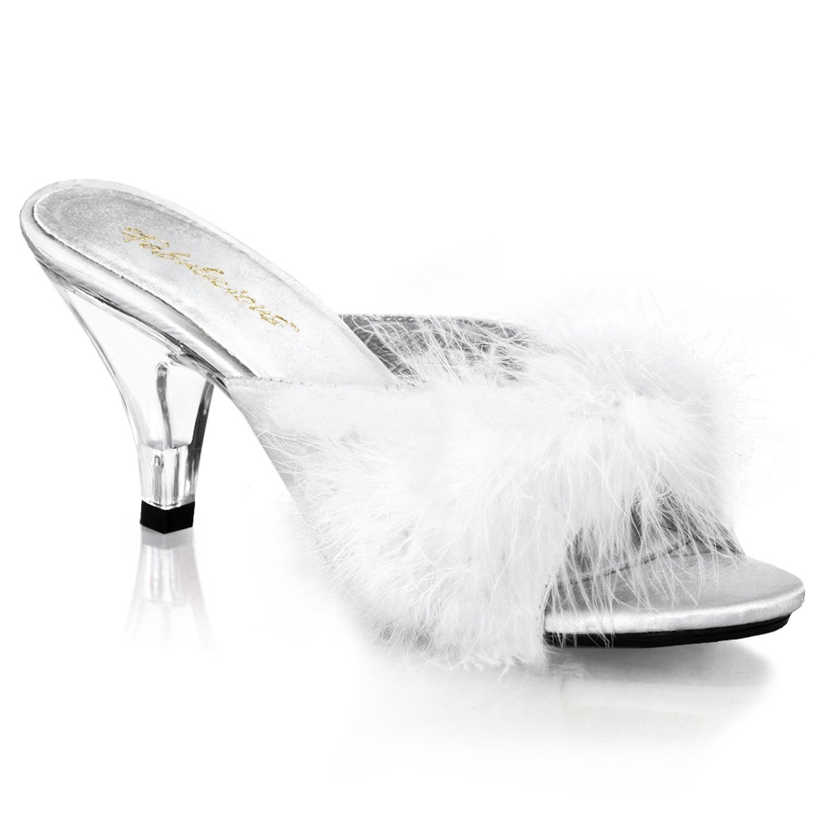 Pleaser Fabulicious BELLE-301F Women Sandal B00HV9WCL8 14 B(M) US|White Satin-fur/Clear