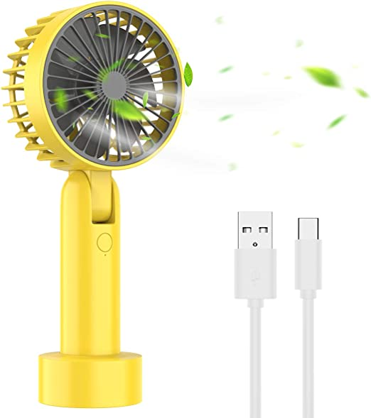 Color : Yellow USB Table Desk Personal Fan Handheld Mini USB Fan Small Rechargeable Portable Handheld Desktop Outdoor for Home Office Table