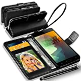 one plus 3 / OnePlus Three / OnePlus 3 Rich Leather Stand Wallet Flip Case Cover Book Pouch / Quality Slip Pouch / Soft Phone Bag (Specially Manufactured - Premium Quality) Antique Leather Case With Touch Stylus Pen Black For one plus 3