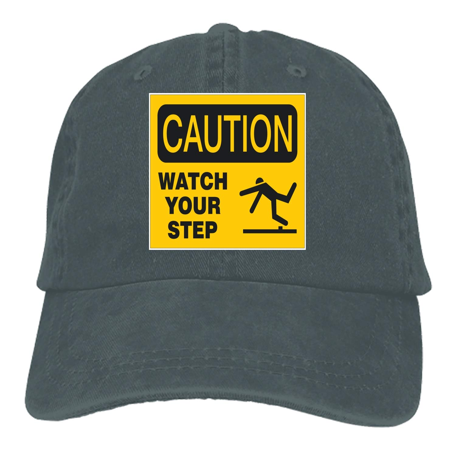 19841a2f45b Caution Your Step Adult Denim Dad Solid Baseball Cap Hat at Amazon Men s  Clothing store