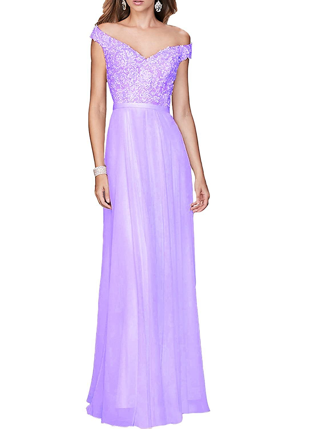 Now&Forever Women's Off the Shoulder Lace Appliques Chiffon Long Formal Evening Gown for Wedding and Women Prom Dress for Girls NF116