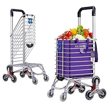 Cesta Carro de la Compra Escalera Escalada Mercado de los Agricultores Carro Escalera Escalada Multipropósito Supermercado plegable 8 Rueda , purple: ...