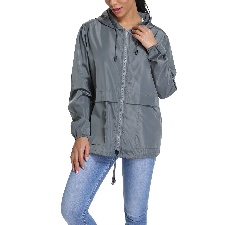 RIOJOY Ladies Waterproof Windbreaker Jacket Lightweight Packable Compact Outdoor Hooded Zip UP Raincoat for Women