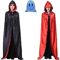 Myir Reversible Capa Negro Rojo con Capucha Adulto Niño Niña, Unisex Disfraces Disfraz de Halloween Hombre Mujer Brujo…
