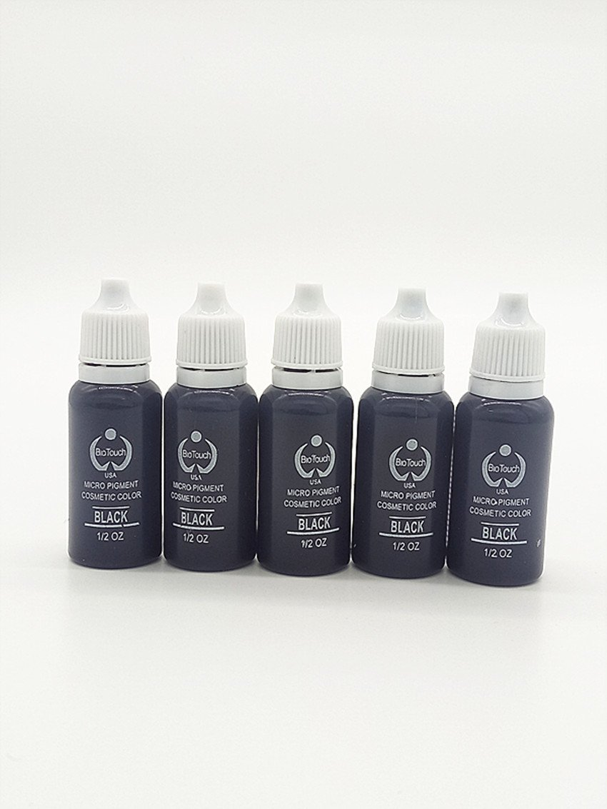 5 pcs tattoo ink set Permanent makeup pigment 15ml 1 / 2oz Cosmetic eyebrow eyeliner tattoo paint black back color AISIMA