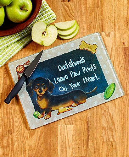Modern Dog Breed Cutting Boards-Tempered Glass and PVC Boards Have Silicone Feet-Perfect for Living Room Use-Multiple Designs Available (Dachshund)