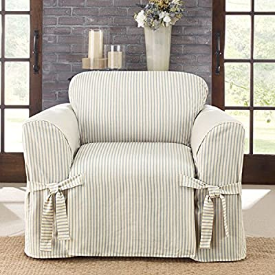 Cotton Blend Ticking Stripe Box Cushioned Chair Slipcover
