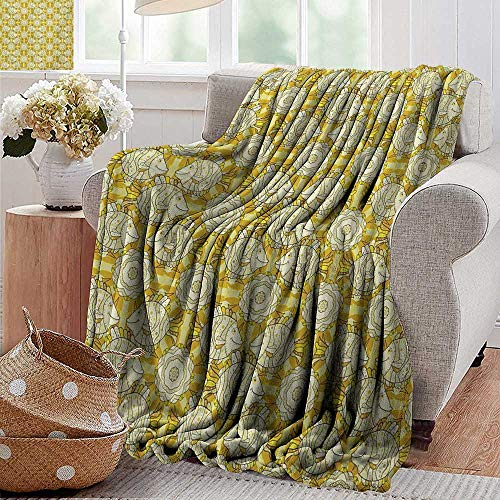 PearlRolan Swaddle Blanket,Yellow and White,Aquarium Fishes with Stripes on Floral Composition Background,Marigold Beige Yellow,Lightweight Extra Soft Skin Fabric,Not Allergic 60