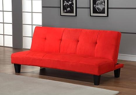 Amazon Com Red Microfiber With Adjustable Back Klik Klak Sofa Futon