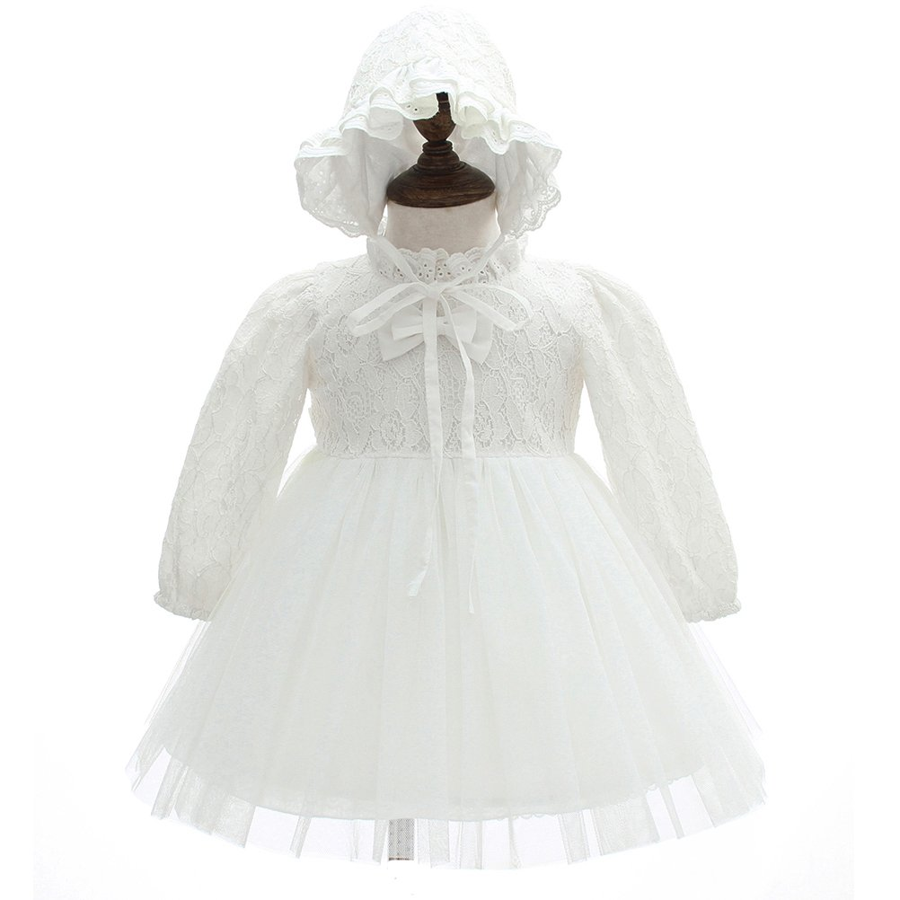 Baby Girls Long Sleeve Baptism Dresses 2PCS Party Christeniing Gomns Pegant Dress Moon Kitty