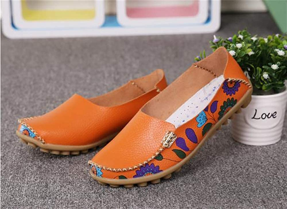 Orange-Lable 36//5.5 B Womens Cowhide Floral Print Flat Casual Slip on Driving Loafer Shoes US Women M
