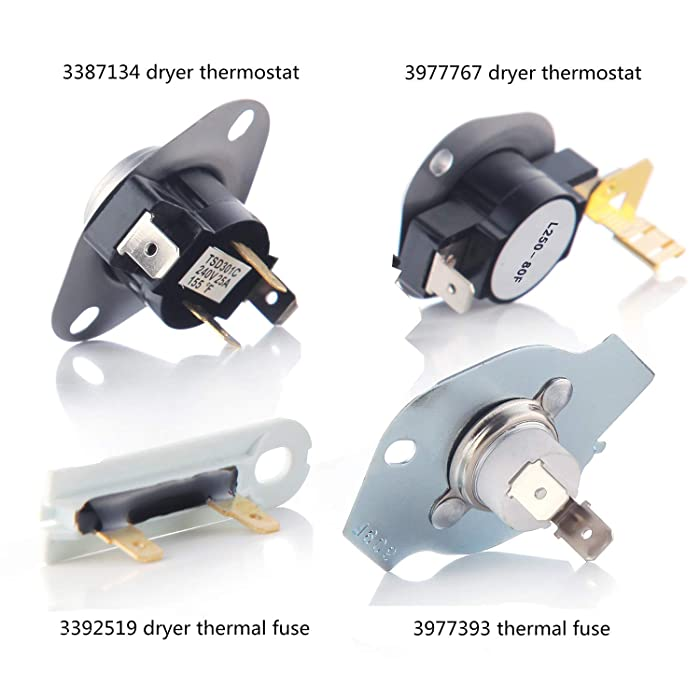 3387134 Dryer Thermostat 3977767 Cycling Thermostat 3977393 Thermal Fuse 3392519 Dryer Thermal Fuse Kit Replaces 3399693, WP3977767VP, PS345113, WP3977393, AP6008325, 3391693, PS345113
