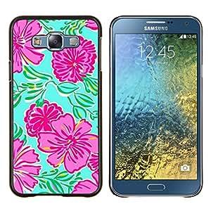 Eason Shop / Premium SLIM PC / Aliminium Casa Carcasa Funda Case Bandera Cover - Arte floral de primavera verde de la naturaleza - For Samsung Galaxy E7 E700