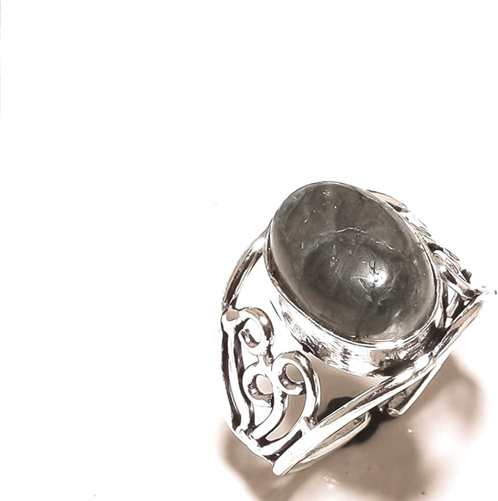 Handmade Jewelry Outstanding Sizable Black Labradorite Sterling Silver Overlay Ring Size 9 US