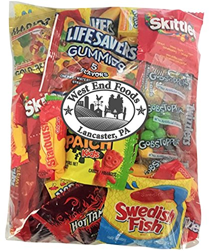 Assorted Candy (32 oz) of Gummy Bears, LifeSavers, Skittles, Starburst, Swedish Fish, Twizzlers, Nerds, Sour Patch, for Snacks (White Candy Nerds)