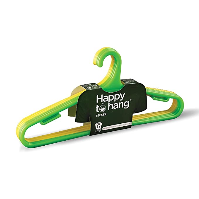 Happy To Hang Teeser Polypropylene Hanger, Yellow And Green, Pack of 6-Best-Popular-Product