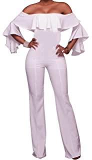 f22f58aacb0d YouSexy Women s Jumpsuits Off Shoulder Sexy High Waist Long Pants Wide Leg  Flare Sleeve Rompers
