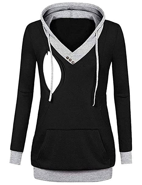 9e3717dfa9c Chulianyouhuo Women s Maternity Nursing Hoodie Long Sleeve Sweatshirt  Breastfeeding Nursing Tops Size S (Black)