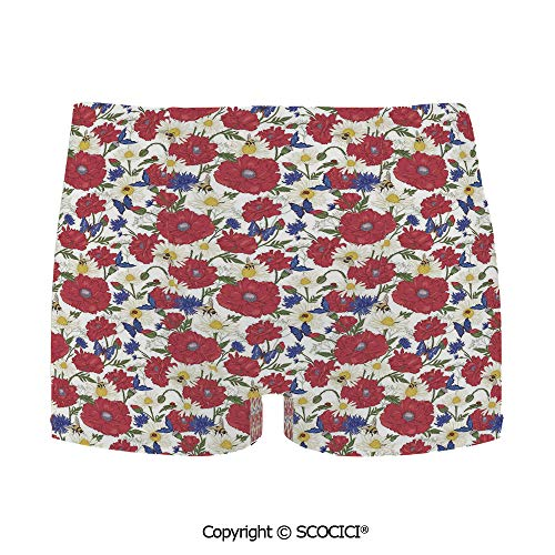 SCOCICI Bathing Trunks Blooming Red Poppies Chamomile Ladybird and Daisies Bumb