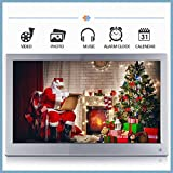12'' Thin Metal Digital Picture Frame High Resolution IPS 1920 x 1080 Slim Metal Multifunctional Desktop Digital Photo Frame with MP3 MP4 E-Book Calendar Function with Remote Controller-Silver