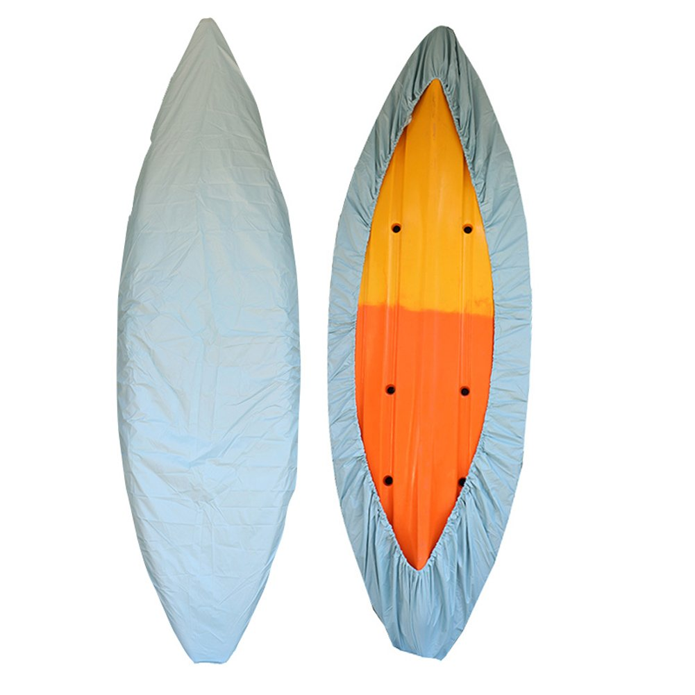 GYMTOP 7.8-18ft Waterproof Kayak Canoe Cover- Outdoor Storage Dust Cover UV Protection Sunblock Shield for Fishing Boat/Kayak/Canoe 7 Sizes [Choose Color] (Light Blue, Suitable for 13.8-15ft Kayak) by GYMTOP