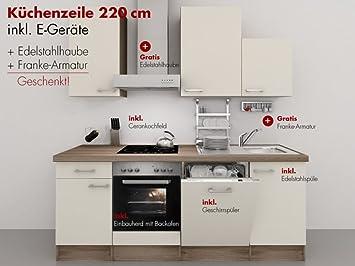 Küchenzeile 220 Cm Magnolie Matt Mit Edelstahlhaube Armatur