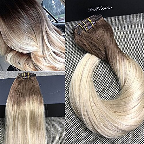 Full Shine 24'' 7 Pcs 140 Gram Color 6B Fading to 613 Blonde Balayage Extensions of Remy Human Hair Clip in Extensions Human Real Hair Clip in Extensions by Full Shine
