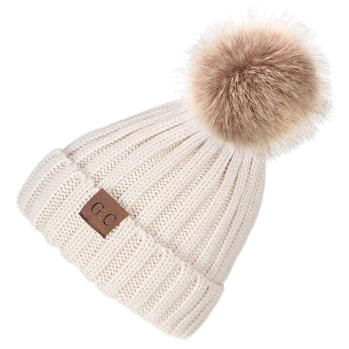 VAMEI Pom Cappello Kids Winter Warm Knitted Faux Fur Ball Pom Pom cap Berretto  Cappello Berretto caa5ebf5dd69